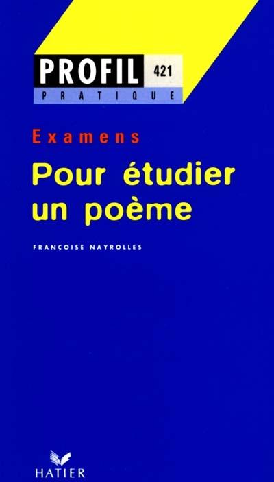 Afbeelding van Pour étudier un poème. Examens